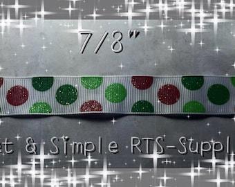 """7/8"""" Christmas Dots Ribbon"""