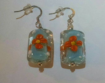 Light Blue with Orange Flowers Glass Earrings Item No. 80 Perfect for Easter or Mother's Day