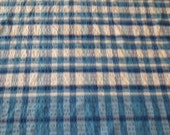 Vintage Rectangle 74 By 58 Inch Blue Checked Table Cloth, Vintage Linen, Striped Table Cloth