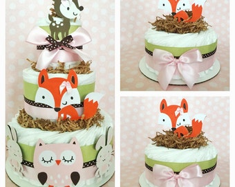 Woodland Diaper Cake for Girls