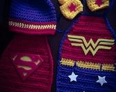 Crochet Newborn Super Hero -Wonder Women newborn set-Superman-Photo Prop-BabyShower Gift-Baby Hat-Superhero set-Superhero Cape