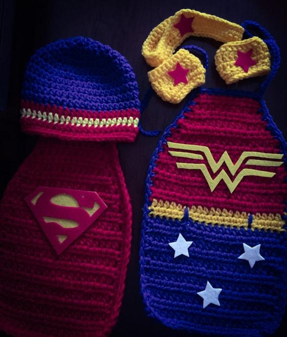 Crochet Newborn Super Hero Hat and Cape/Wonder