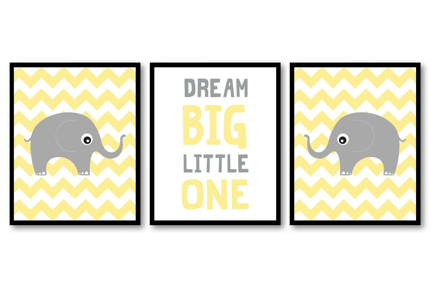 Yellow Grey Elephant Nursery Art Nursery Print Dream Big Little One Set of 3 Elephants Child Kid Roo