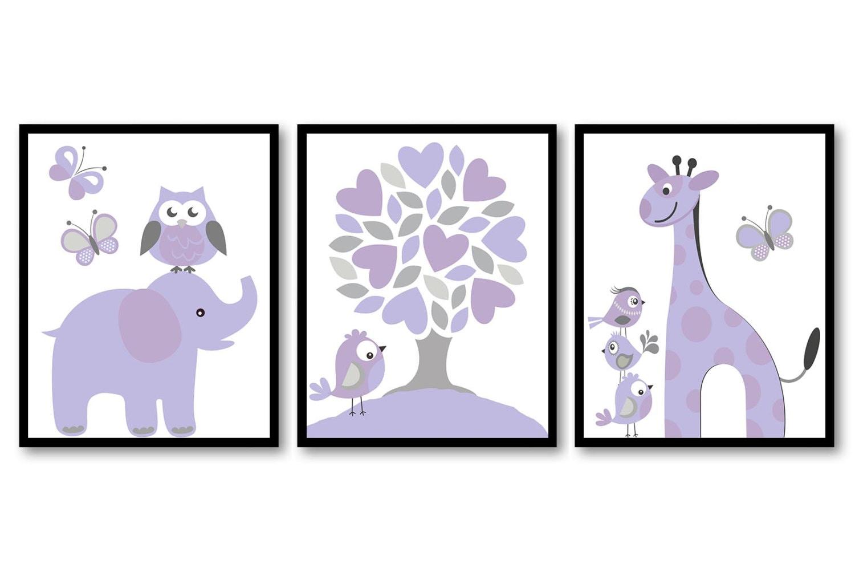 Lilac Purple Grey Gray Nursery Art Print Set of 3 Elephant Owl Bird Tree Giraffe Baby Nursery Print
