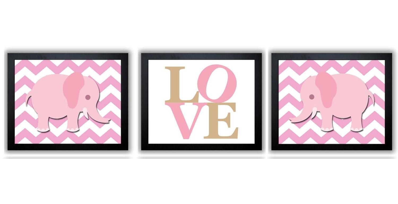 Pink Elephant Chevron Beige LOVE Nursery Art Nursery Print Set of 3 Elephants Child Art Prints Kids