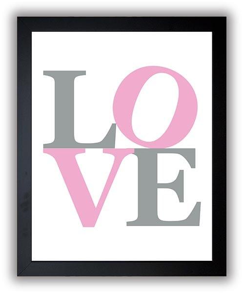 Love Nursery Art Nursery Print Nursery Pink Silver Grey Love Sculpture Decor Child Baby Art Print Gi