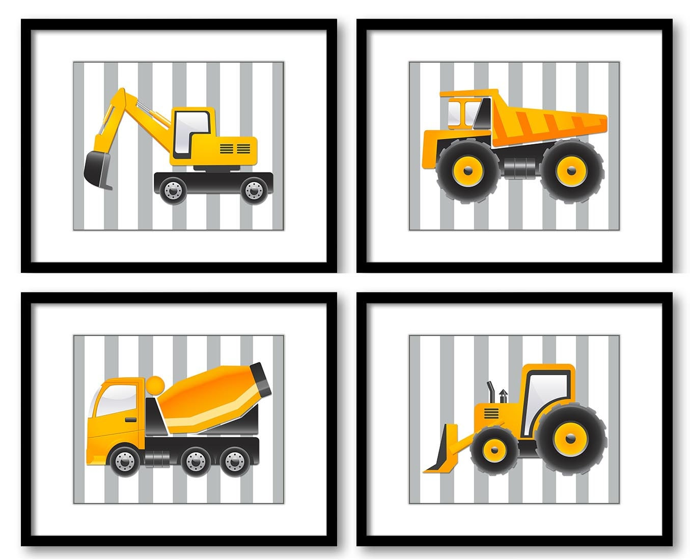 Grey Transportation Construction Vehicles Heavy Machinery Kid Children Set of 4 Prints Boy Stripes N