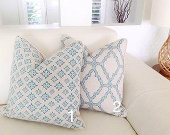 Linen Pillows Aqua Natural Linen Cushion Cover Mediterranean Aqua Cushions Toss Pillows, Cushions. Beach House Cushions
