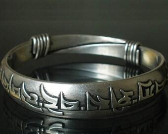 Tibetan Silver Buddhism Buddhist Buddha Prayer Om Mani Padme Hum Charm Bangle Bracelet EB225