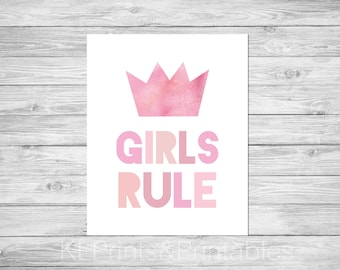 Girls room art print, Nursery art, Digital download, Print, Quotation print, Pink, typography print- Girls Rule