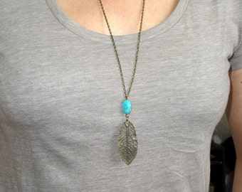 Bronze leaf turquoise necklace, Bohemian leaf necklace, Leaf necklace, Boho necklace, Layering necklace, Gifts