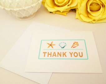 10 Beach Wedding Thank You Cards Set - Wedding Thank You Notes - Aqua Destination Wedding Thank You Cards - Seashells Card Set