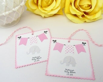 Baby Tag, Pink and Gray Baby Shower Favor Tag, Pink and Grey Elephant Baby Shower Bag Tag, Elephant Baby Shower Thank You Tag, Gift Tags