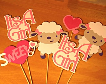 Baby Sheep/ Baby Lamb 'It's A Girl' Table/Party Centerpieces/Baby Shower Decor
