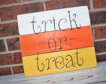 White, Orange, and Yellow Candy Corn Wooden Halloween Sign