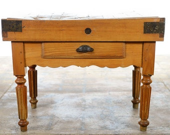 Antique Butcher Block -19th century Original French Fruitwood Table