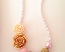 NEW rose garden Chunky BubbleGum bead necklace PINK & GOLD glitter sparkle kid child baby Jewelry princess pearl