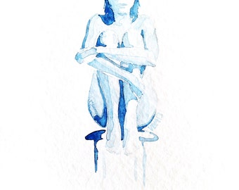 "Fine Art Print, blue watercolor, nude woman, ""Sitting Still,"" 8x10"