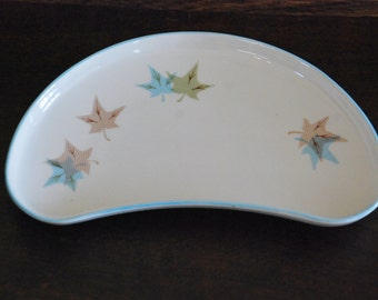 "1950's Franciscan ""Bone"" Dish with Maple Leaves"