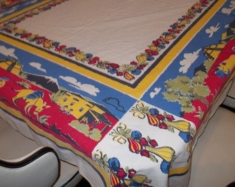Vintage Startex Tablecloth  Retro Kitchen 1950s Mexican Southwestern