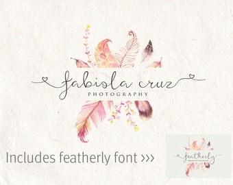 Photography logo - digital download - digital font - feather logo design - Photography Watermark - digital download psd file