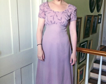 1970s Empire Waist Lavender Gown with Beaded Embroidery Leaves