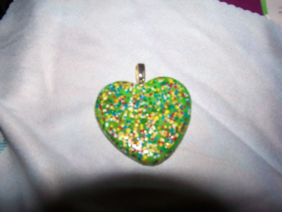 Pendant - Green Heart with Multicolored Sprinkles
