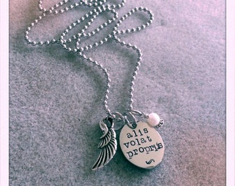 Handstamped charm necklace Alis Volat Propriis