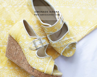 Lemon-colored Open Toe Slip On Batik Wedges