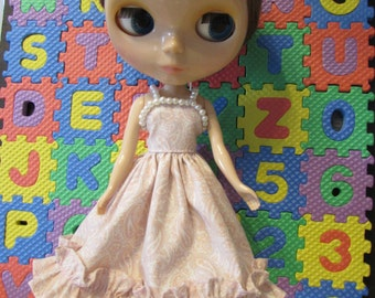 Blythe Doll Outfit Cloth Paisley Print Pink Dress