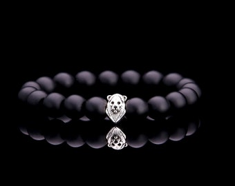 10 MM Matt Black Onyx Bead with 925 Silver Lion Head Bead Bracelet.