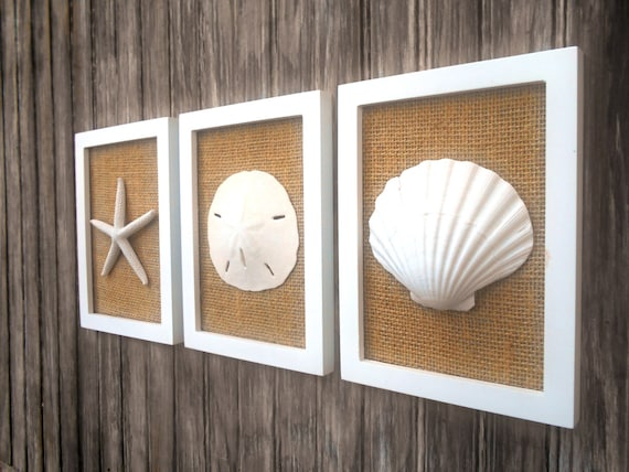 Cottage Chic Set Of Beach Decor Wall Art Sea Shell Home Decor Beach