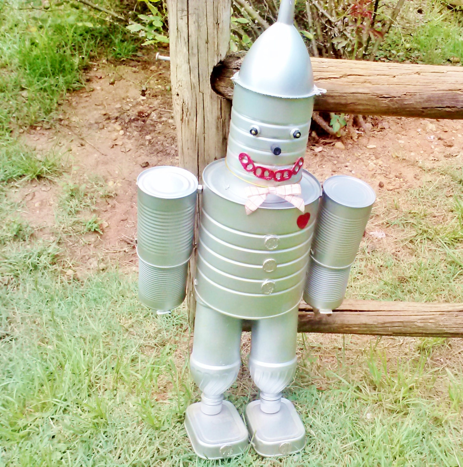 Wizard of oz tin can man silver handmade hand painted fun home for Tin man out of cans