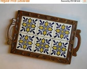 Vintage Mexican Yellow and Blue Six Tile Carved Wood Serving Tray