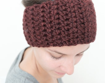 Ear-Warmer | Chunky Winter Headband with Silver Button