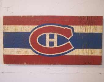 Montreal Canadiens Sign - wooden canadiens flag - wood habs sign - wood canadiens sign - outdoor habs sign - montreal canadiens flag