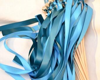 50 Twirling Ribbon Wand Bell Streamers  ~ Ribbon Bell Wands ~ Send Off Bells ~ Kissing Bells