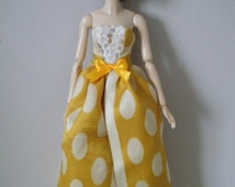 MOMOKO cream spots/yellow evening dress/ ball dress with matched hair band by Jing's Crafts