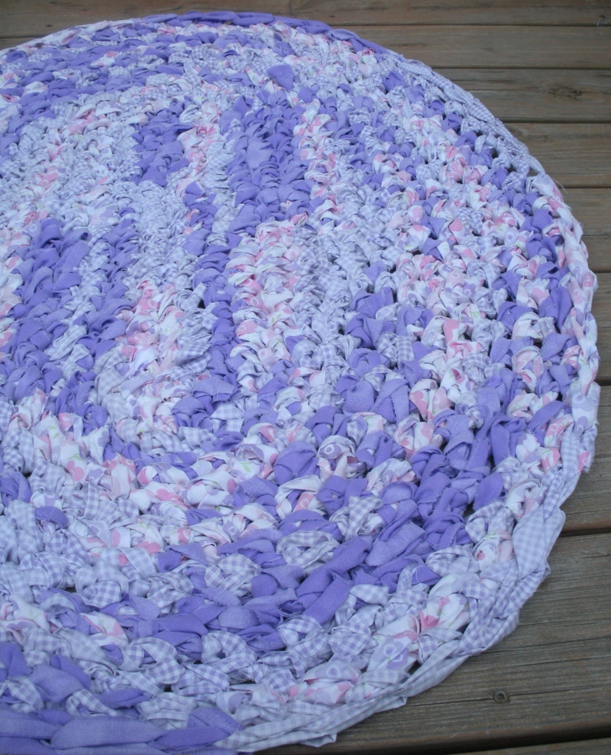 40x28 Hand Crocheted Oval Rag Rug Purple Pink By