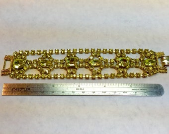 Glamorous vintage yellow rhinestone bracelet- Free shipping