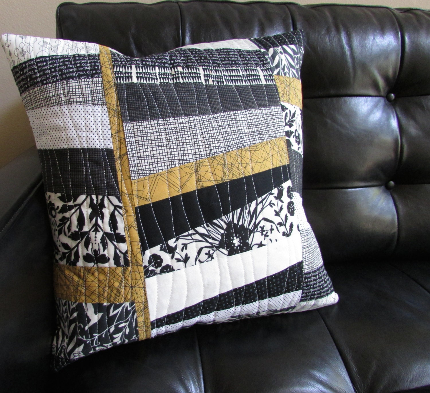 Modern Quilted Pillows Pattern : Decorative Pillow Throw Pillow Modern Quilted Pillow