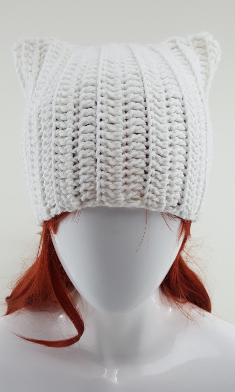 Crochet White Cat Ear Beanie