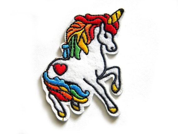 Embroidered unicorn patch iron or sew on applique