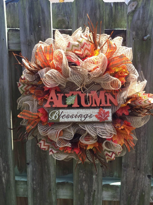 Fall Wreath Fall Deco Mesh Wreath Front Door Wreath