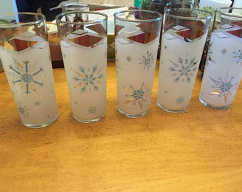 Vintage Hazel Atlas Frosted, Blue Snowflake, Gold Accented Tall Drinking Glasses Set of 5