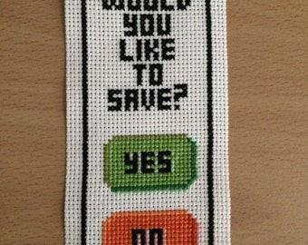 Would You Like To Save Cross Stitch Bookmark Pattern - Instant Download PDF