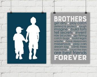 Canvas brothers wall art - boys room decor - navy and gray boys room - brothers silhouettes - brothers playroom decor