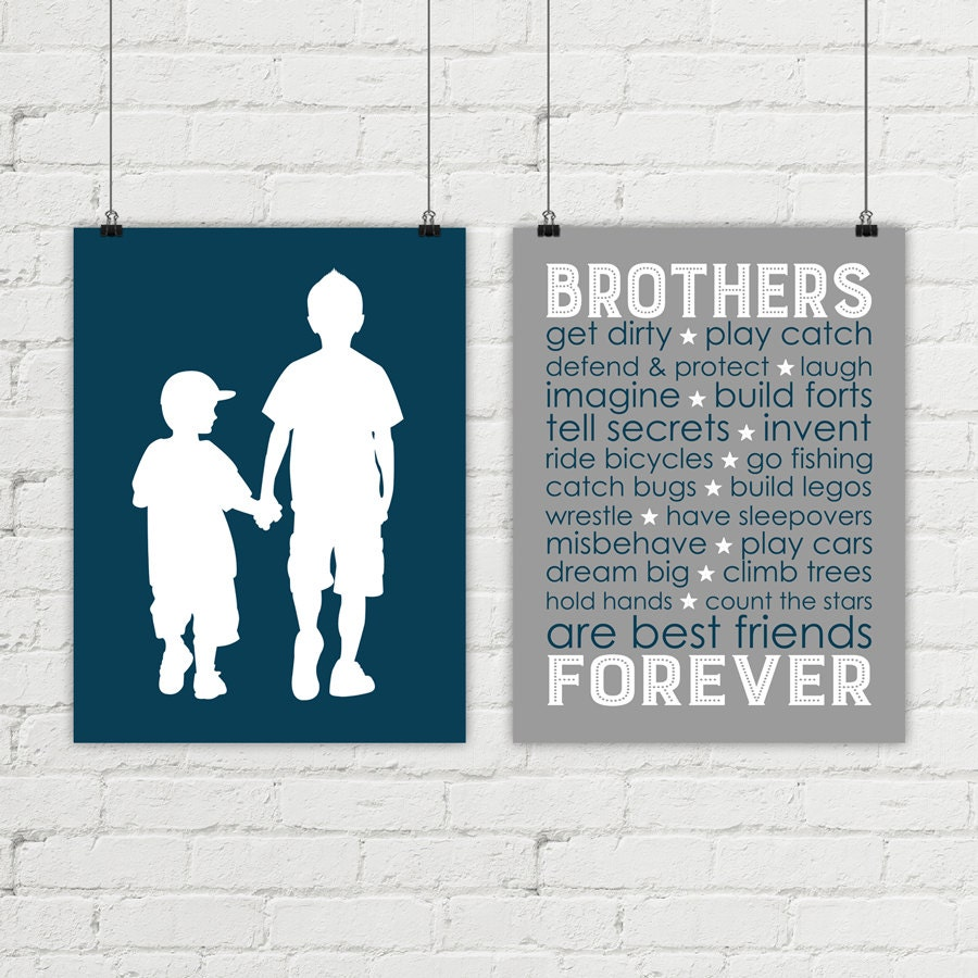 Canvas Brothers Wall Art Boys Room Decor By WillowLanePrints