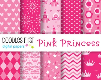 Pink Princess Digital Paper Pack Includes 10 for Scrapbooking Paper Crafts