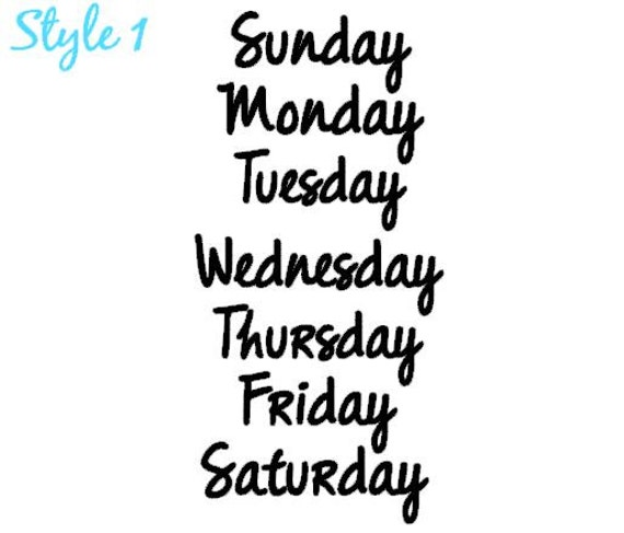 15 days of the week vinyl decalscalendar by With days of the week vinyl letters